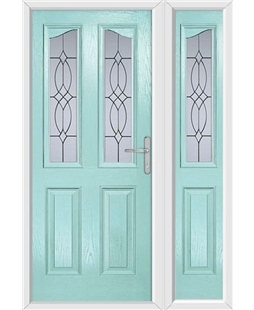 The Birmingham Composite Door in Blue (Duck Egg) with Flair Glazing and matching Side Panel