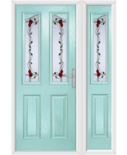 The Birmingham Composite Door in Blue (Duck Egg) with Mackintosh Rose and matching Side Panel