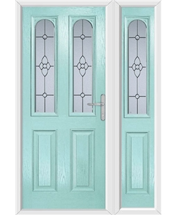 The Aberdeen Composite Door in Blue (Duck Egg) with Finesse Glazing and matching Side Panel