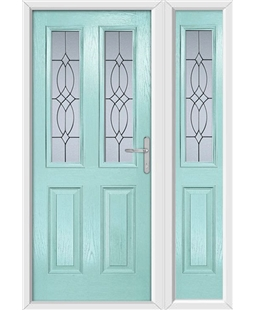The Cardiff Composite Door in Blue (Duck Egg) with Flair Glazing and matching Side Panel