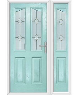 The Birmingham Composite Door in Blue (Duck Egg) with Classic Glazing and matching Side Panel