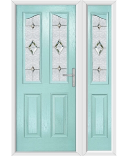 The Birmingham Composite Door in Blue (Duck Egg) with Crystal Diamond and matching Side Panel