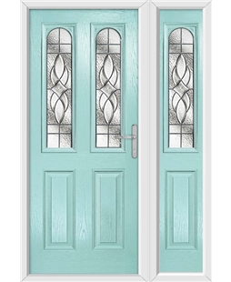 The Aberdeen Composite Door in Blue (Duck Egg) with Zinc Art Elegance and matching Side Panel