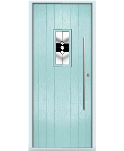 The Zetland Composite Door in Blue (Duck Egg) with Black Crystal Bohemia