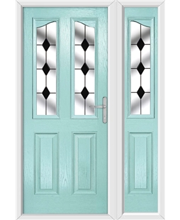 The Birmingham Composite Door in Blue (Duck Egg) with Black Diamonds and matching Side Panel