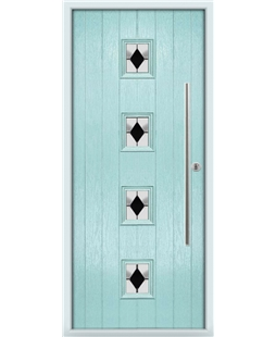 The Leicester Composite Door in Blue (Duck Egg) with Black Diamonds