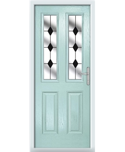 The Cardiff Composite Door in Blue (Duck Egg) with Black Diamonds