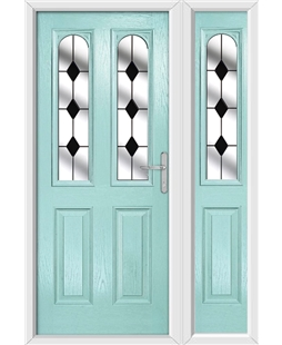 The Aberdeen Composite Door in Blue (Duck Egg) with Black Diamonds and matching Side Panel