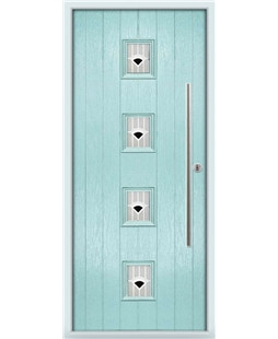 The Leicester Composite Door in Blue (Duck Egg) with Black Murano