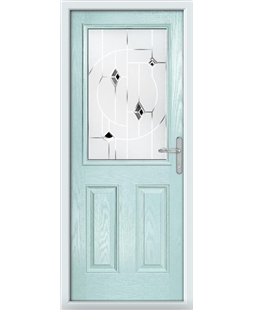 The Farnborough Composite Door in Blue (Duck Egg) with Black Murano