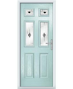 The Oxford Composite Door in Blue (Duck Egg) with Black Murano