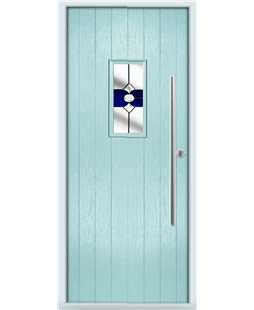 The Zetland Composite Door in Blue (Duck Egg) with Blue Crystal Bohemia