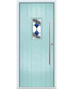 The Zetland Composite Door in Blue (Duck Egg) with Blue Diamonds
