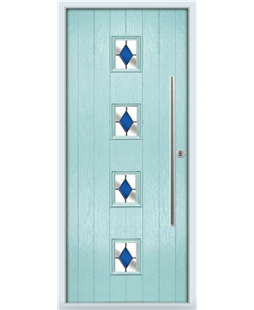 The Leicester Composite Door in Blue (Duck Egg) with Blue Diamonds