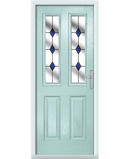 The Cardiff Composite Door in Blue (Duck Egg) with Blue Diamonds