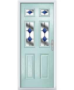 The Oxford Composite Door in Blue (Duck Egg) with Blue Diamonds