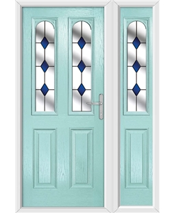The Aberdeen Composite Door in Blue (Duck Egg) with Blue Diamonds and matching Side Panel
