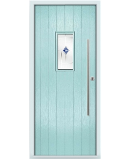 The Zetland Composite Door in Blue (Duck Egg) with Blue Murano