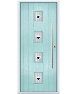 The Leicester Composite Door in Blue (Duck Egg) with Blue Murano