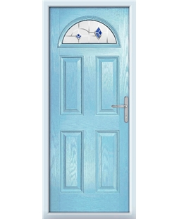 The Derby Composite Door in Blue (Duck Egg) with Blue Murano