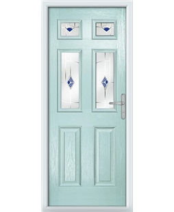 The Oxford Composite Door in Blue (Duck Egg) with Blue Murano