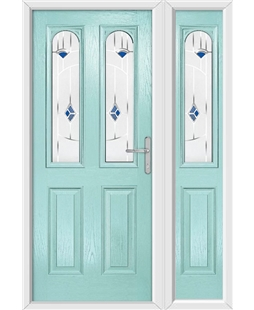 The Aberdeen Composite Door in Blue (Duck Egg) with Blue Murano and matching Side Panel