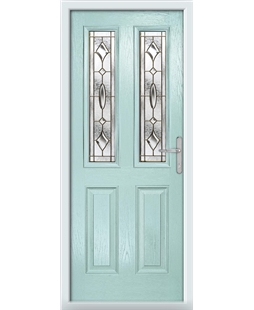 The Cardiff Composite Door in Blue (Duck Egg) with Brass Art Clarity