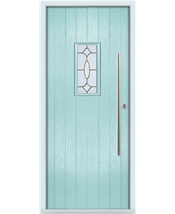 The Zetland Composite Door in Blue (Duck Egg) with Brass Art Clarity