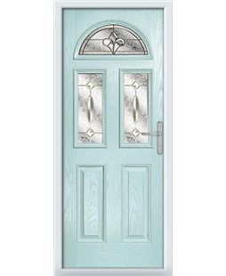 The Glasgow Composite Door in Blue (Duck Egg) with Brass Art Clarity