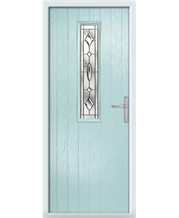 The Sheffield Composite Door in Blue (Duck Egg) with Brass Art Clarity
