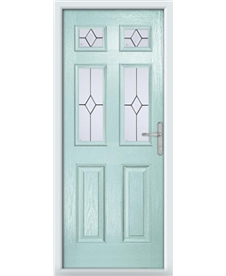 The Oxford Composite Door in Blue (Duck Egg) with Classic Glazing