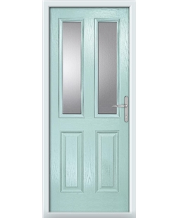 The Cardiff Composite Door in Blue (Duck Egg) with Clear Glazing