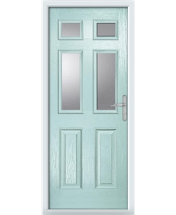 The Oxford Composite Door in Blue (Duck Egg) with Clear Glazing