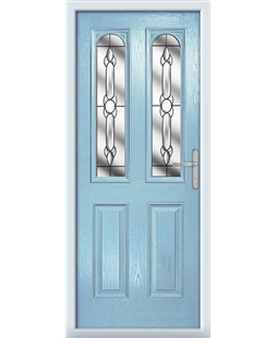 The Aberdeen Composite Door in Blue (Duck Egg) with Crystal Bohemia