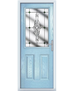 The Farnborough Composite Door in Blue (Duck Egg) with Green Crystal Bohemia