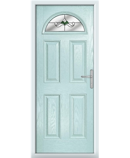 The Derby Composite Door in Blue (Duck Egg) with Green Crystal Bohemia
