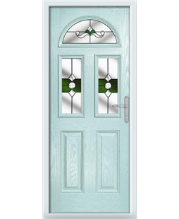 The Glasgow Composite Door in Blue (Duck Egg) with Green Crystal Bohemia