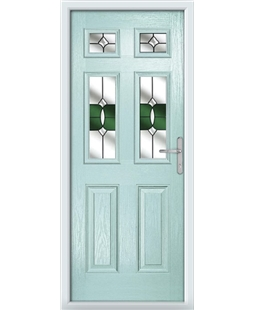 The Oxford Composite Door in Blue (Duck Egg) with Green Crystal Bohemia