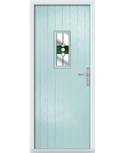 The Taunton Composite Door in Blue (Duck Egg) with Green Crystal Bohemia
