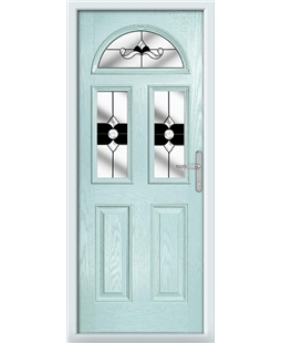 The Glasgow Composite Door in Blue (Duck Egg) with Black Crystal Bohemia