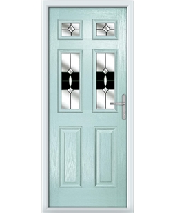 The Oxford Composite Door in Blue (Duck Egg) with Black Crystal Bohemia