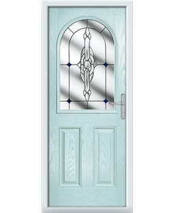 The Edinburgh Composite Door in Blue (Duck Egg) with Blue Crystal Bohemia