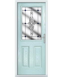 The Farnborough Composite Door in Blue (Duck Egg) with Blue Crystal Bohemia