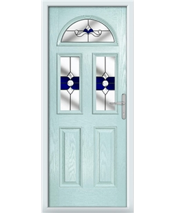 The Glasgow Composite Door in Blue (Duck Egg) with Blue Crystal Bohemia