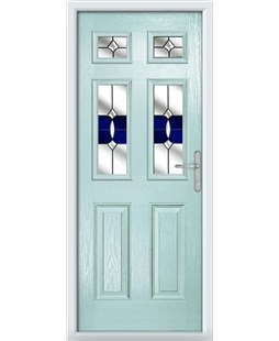 The Oxford Composite Door in Blue (Duck Egg) with Blue Crystal Bohemia