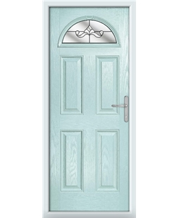 The Derby Composite Door in Blue (Duck Egg) with Clear Crystal Bohemia