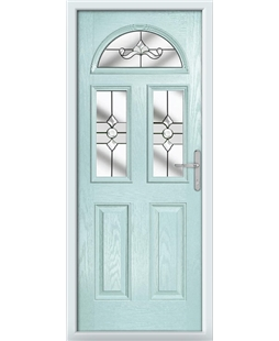 The Glasgow Composite Door in Blue (Duck Egg) with Clear Crystal Bohemia