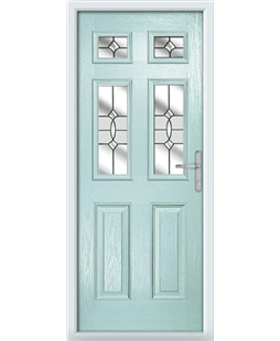 The Oxford Composite Door in Blue (Duck Egg) with Clear Crystal Bohemia
