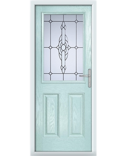 The Farnborough Composite Door in Blue (Duck Egg) with Crystal Bohemia Frost