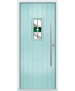 The Zetland Composite Door in Blue (Duck Egg) with Green Crystal Bohemia